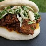 spicy coconut fried chicken sandwish