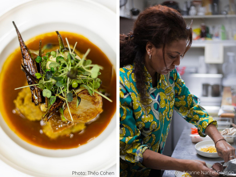 A split-screen image with one picture of a fine dining dish and another picture of a chef preparing the African food
