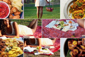 collage of African and Caribbean finger foods and various photos of a Black girl lying on a picnic blanket.
