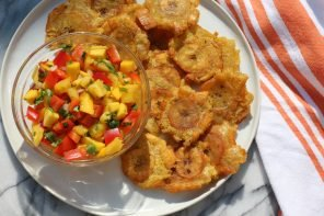 twice-fried plantains and salsa