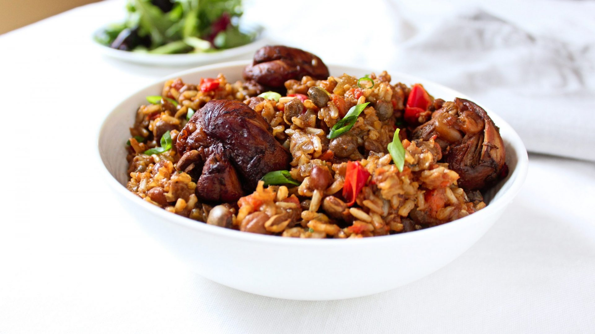 Pelau Caribbean Trinidadian Brown Rice Chicken Meal Prep scaled