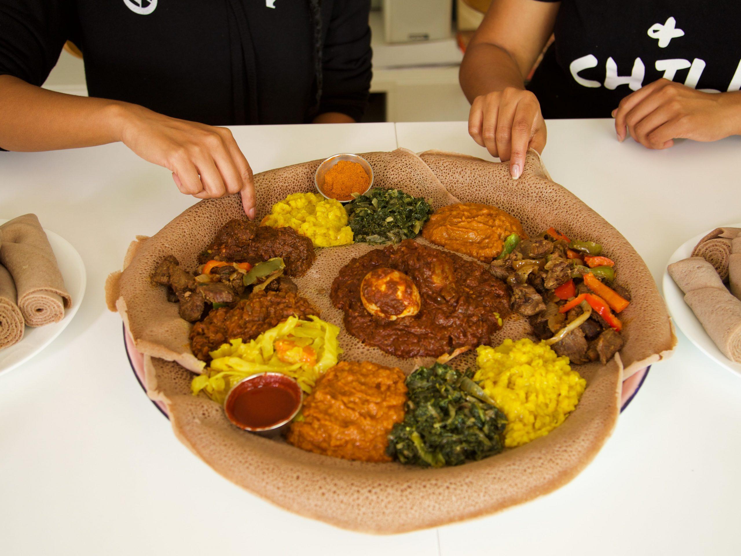 An Eritrean/Ethiopian veggie platter