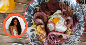 Ana Guisbell's Dominican Mangu con los tres Golpes