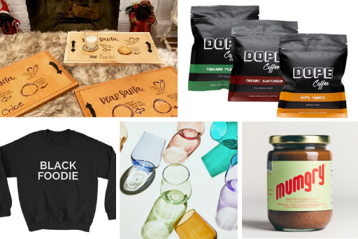 Our top Black-Owned gifts for Foodies. Pictured: Santa tray, Dope Coffee, a BLACK FOODIE crewneck sweater, coloured stemless wine glasses, Mumgry spread