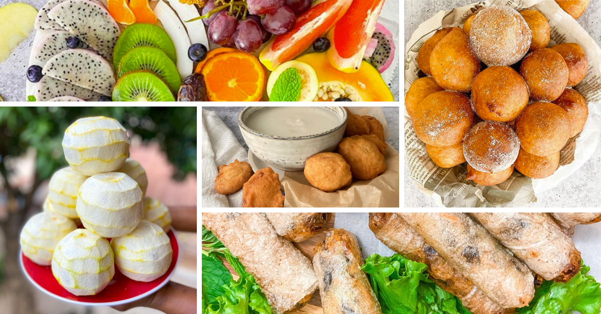 a collage with pictures of fruit, spring rolls, and donuts