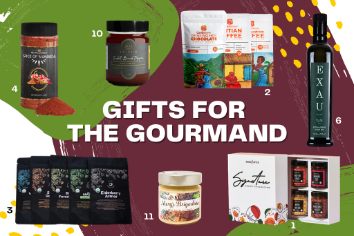 9 food-related gifts arranged on a maroon and green background
