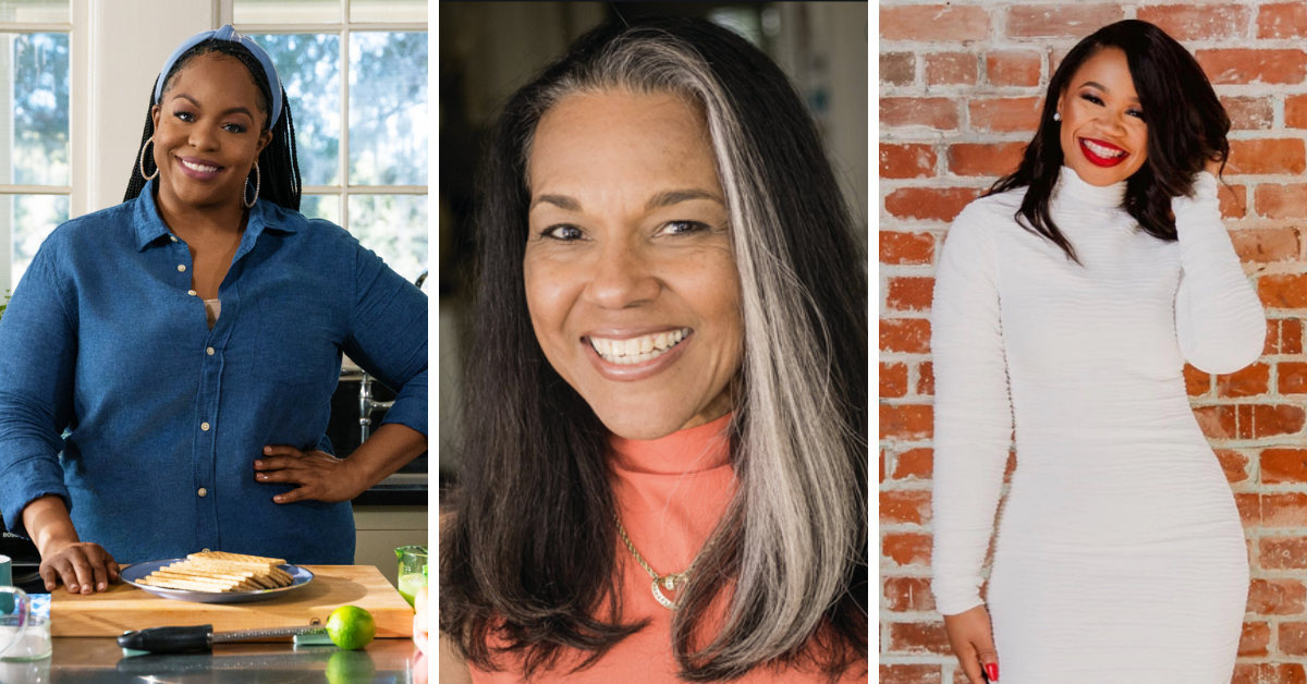 a collage of three Black women, one in a blue shirt in a kitchen, one in a white dress up against a brick wall, and one close-up wearng a pink shirt