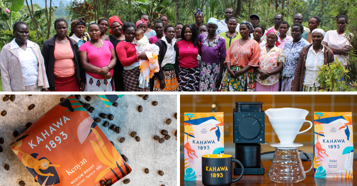 a collage of Kenyan women on a coffee farm and Kahawa1893 products
